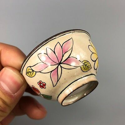 Chinese Antique Rare Old Cloisonne Handwork flowers Collectible Tea Bowl