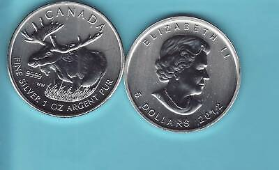 """ROYAL CANADIAN MINT  2012   """"MOOSE""""  1 oz. SILVER  Round Coin  WILDLIFE SERIES"""