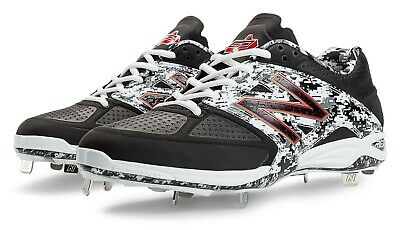 New Balance Pedroia Low-Cut 4040v2 Metal Cleat Mens Shoes Black-White Size 15