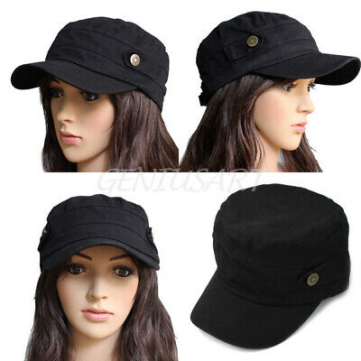 Black Adjustable Army Cadet Military Flat Top Hat Cap Classic Cool Unisex Cotton