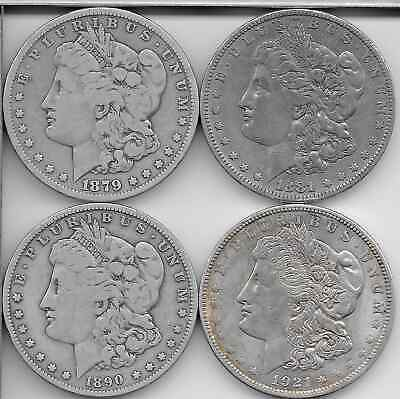 Lot Of 4 1890 Us Morgan Dollar 90% Silver Coins In Great Condition
