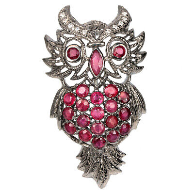 40X26 Mm. Genuine Blood Red Ruby & White Cz Sterling 925 Silver Owl Brooch