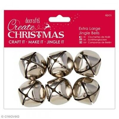 Docrafts Papermania Extra Large Jingle Bells 6pcs-silver - Pack Perfect