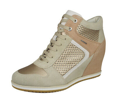 23710eadf4f Geox D Illusion B Womens Suede Leather Wedge Sneaker-Boots w Zip Taupe  Champagne