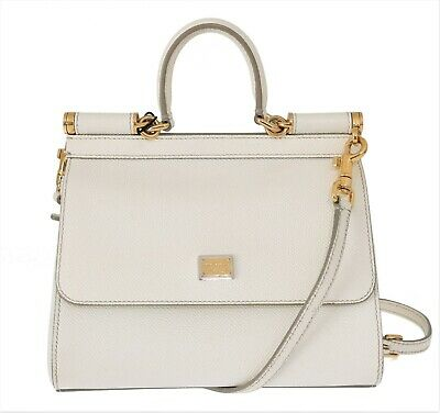 Preowned DOLCE   GABBANA Bag Purse SICILY White Leather Dauphine Hand  Shoulder f6b571d72f
