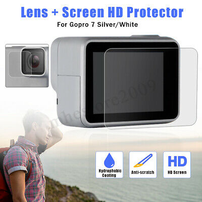 Tempered Glass Lens & LCD Screen Protector Film For GoPro Hero 7 Silver / White