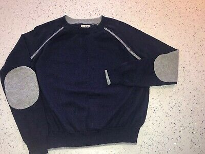 Navy Blue Fine Knit Mini Boden Jumper Grey Patches Age 4-5 Yrs Vgc