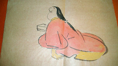 Antique Drawing Giapponese On Paper Rice With Woman Eastern Reclining Toilet