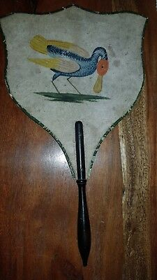 1790 ca. RARE AND ANCIENT HAND FAN HANDLE IN WOOD DECORATION FLORAL GOSLING