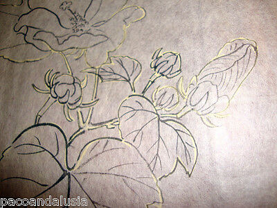 1890 ca. ANTIQUE DRAWING JAPAN RICE PAPER TISSUE PAPER FLOWER PEONY WITH LEAVES