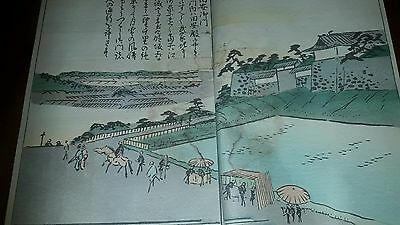 1879 Book School Hiroshige Prints Woodcut Of Landscapes With Bridges