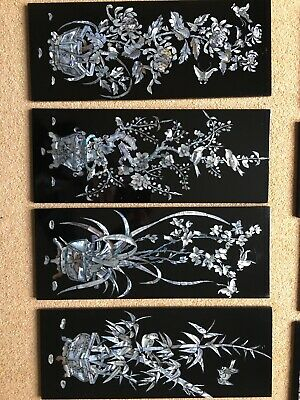 Set Of 4 Black Laquered Mother Of Pearl Vietnamese Wall Panels 19x48.5cm Aprox