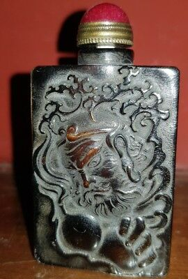 Rare Snuff Bottle X Tobacco Snuff Horn Of Yak + Incision Demon Warrior