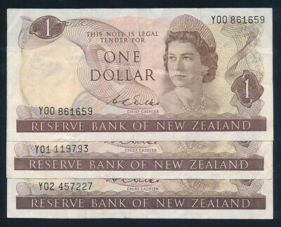 "New Zealand: 1968 $1 Wilks QEII ""SET 3 CONSEC PREFIXES Y00-Y02"". P163b F to VF"