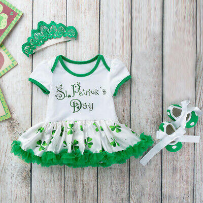3 PCS Toddler Baby Girls St. Patrick's Day Headband+Dress Outfits Rompers  S2