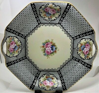 Morimura Brothers Hand Painted Nippon Octagon Double Handle Serving Plate Black
