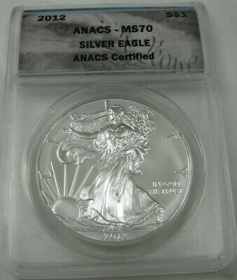 2012  S$1  ANACS CERTIFIED MS70  AMERICAN  SILVER EAGLE  COIN  1oz