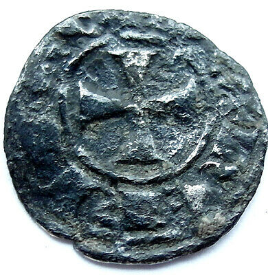 A genuine ancient Medieval silver coin with Templar cross