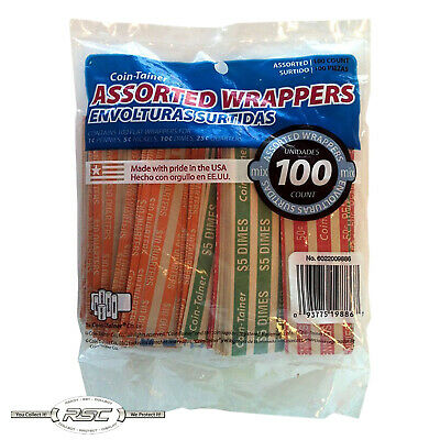 100 - Coin-Tainer Assorted Flat Coin Wrappers for Penny, Nickel, Dime & Quarter!