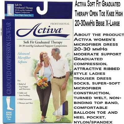 Activa Soft Fit Graduated Therapy Open Toe Knee High 20-30mmHg Beige X-Large, Ne