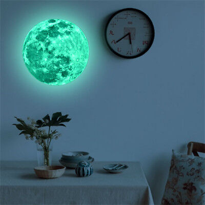 3D Large Moon Glow In The Dark Fluorescent Wall Sticker Removable Decal US ms