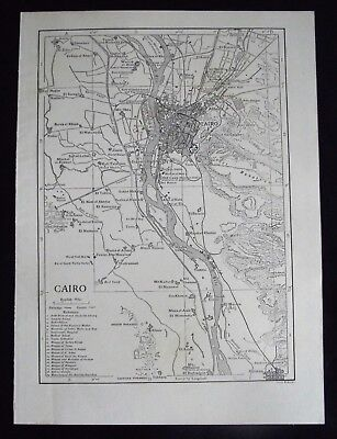 Vintage B/W Map: Cairo, Egypt, by Emery Walker, c 1950s