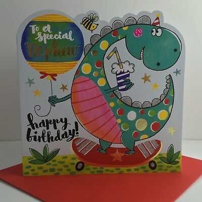 Rachel Ellen Special Nephew Happy Birthday Card New Dinosaur Skateboard/SCRIB10