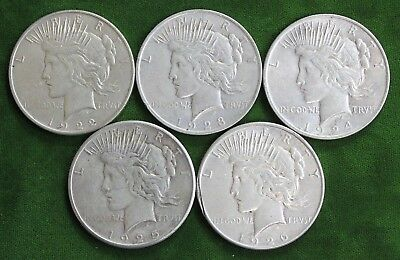 "(5) ""Peace"" US Silver Dollar Coins LOT: 1922, 1923, 1924, 1925, 1926-S"