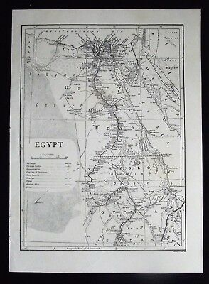 Vintage B/W Map: Egypt, by Emery Walker, c 1950s