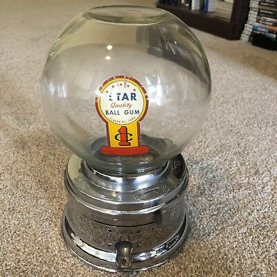 Vintage Antique Glass Globe Penny One Cent Gumball Machine