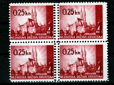Croatia NDH 1942 WWII ☀ Cathedral of Zagreb overprint 0.25kn EROR perf. ☀ NO GUM