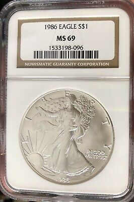 1986 American Silver Eagle NGC Certified MS 69