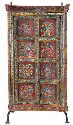 Stunning Carved  Hand Painted Antique Wood  Door on Iron Stand,37'' x 65''H.