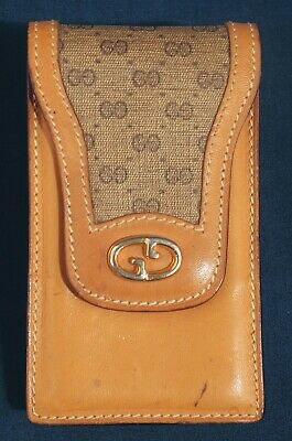 46885cb3cf73 Vtg Gucci Genuine Leather ID Business Card Case or Coin Purse Credit Card  Holder
