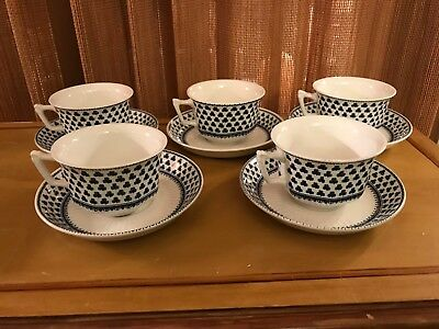 ADAMS china BRENTWOOD - Lot of 5 Cup & Saucer Sets New Backstamp