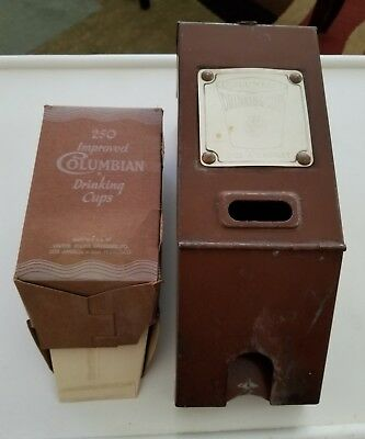 Vintage Columbian Metal Wall Mount Cup Dispenser & Insert Disposable Cups