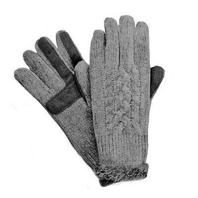 New Isotoner Signature Womens SmarTouch Chenille Knit Gloves Gray One Size