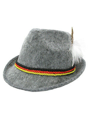 Adult German Alpine Bavarian Oktoberfest Tyrolean Hat Feather Lederhosen Costume