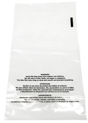 100 9x12 Suffocation Warning Clear Self Seal Poly Bag 1.5Mil