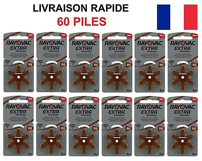 60 Piles Auditives Rayovac 312 EXTRA ADVANCED PR41 Appareil Auditif