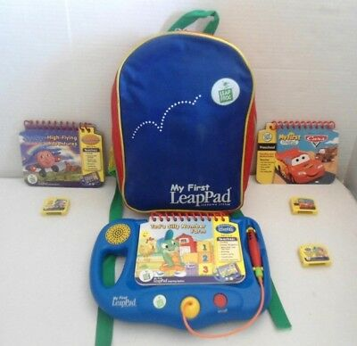 Leap Frog My First LeapPad System,Backpack,3 Books:Cars,Jay Jay,Tads Number Farm