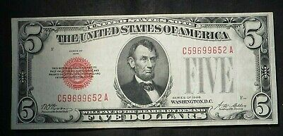 1928 Five Dollar $5 Red Seal US Note- High Grade