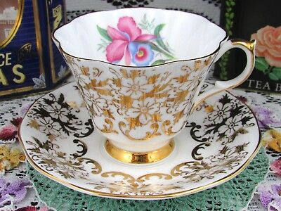 Queen Anne Blue Pink Iris Gold Gilt Floral Chintz Tea Cup And Saucer