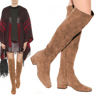 67beb643ec5 NWB  1650 SAINT Laurent BB20 Brown Suede Over The Knee Fringe Boots ...