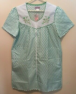 f14ccc1a6f7c NWT Lati Fashion Womens White Green Dots Short Sleeve Gown Duster Lounger Sz  2X
