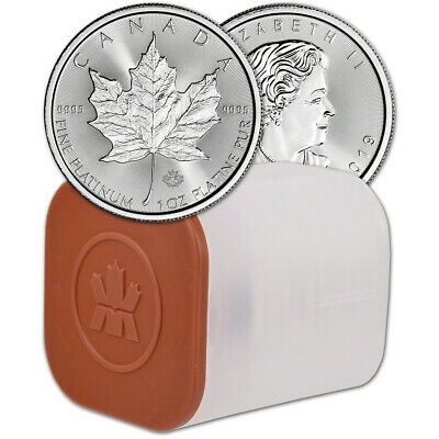 2019 Canada Platinum Maple Leaf 1 oz $50 - BU - 1 Roll Ten 10 Coins in Mint Tube