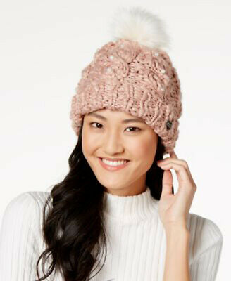 6ade5cb5a2d85 New Women s Betsey Johnson Pearly Girl Cuff Pompom Hat Beanie Blush One Size