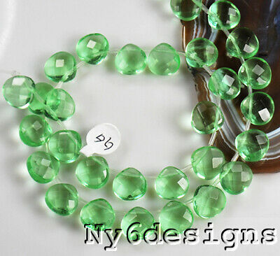 6x12mm Green Crystal Faceted Heart Spacer Loose Beads 30 Pcs (Y3304)b