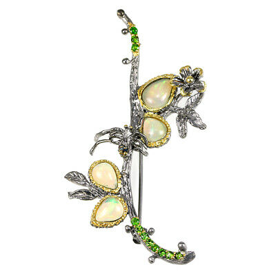 Natural Rainbow Opal & Chrome Diopside Sterling 925 Silver 2-Tone Flower Brooch