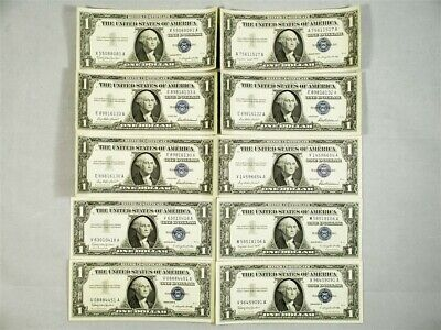 Lot of 10 Mixed Series 1957 $1 Silver Certificate Notes - XF to UNC